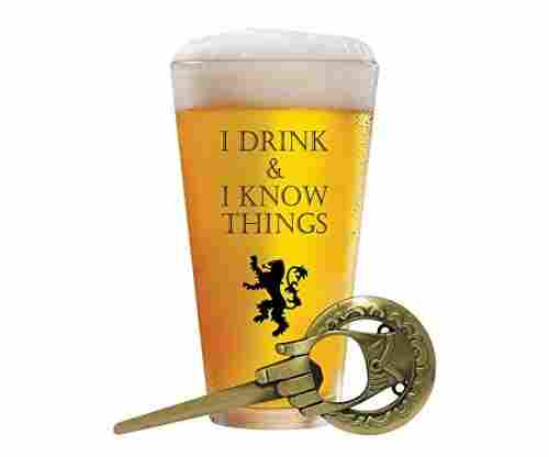 Desired Cart – I Drink and I Know Things Beer Glass
