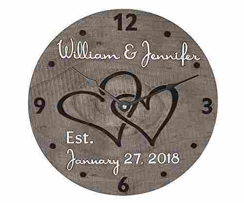 Wooden Wall Clock – Personalized for a Couple