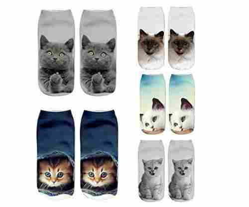 Zmart Women's and Girls 3D Novelty Cat Socks