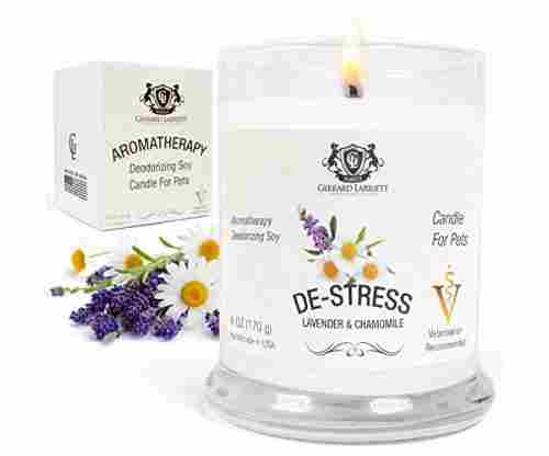 Lavender and Chamomile Aromatherapy Deodorizing Soy Candle for Pets
