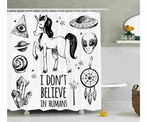 Ambesonne Unicorn Shower Curtain Set