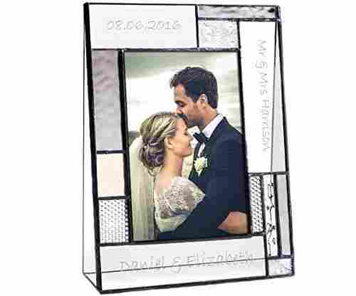 Wedding Picture Frame with Engraved Glass