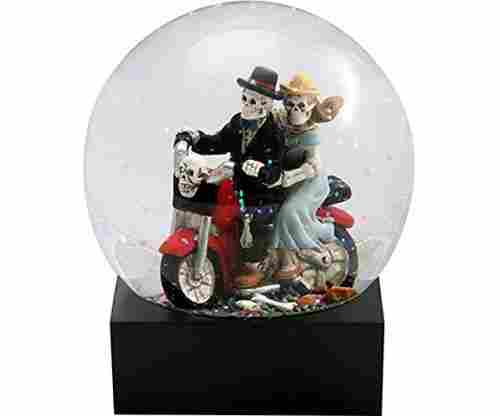 Day of the Dead Skeleton Lovers Glitter Water Globe