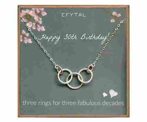 30th Birthday 3 Rings Necklace