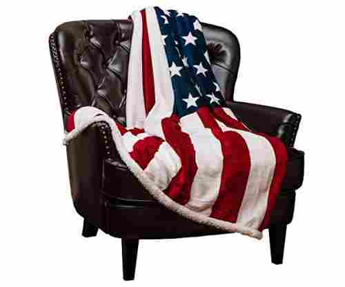 Chanasya Patriotic US Flag Print Fleece Sherpa Throw Blanket