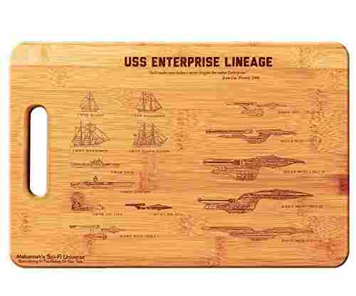 Laser Engraved Star Trek USS Enterprise Cutting & Serving Board