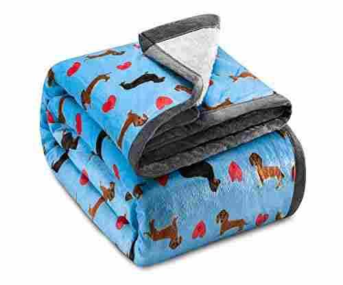 Ashford & Brooks Sherpa-Lined Blanket -Turquoise Dachshund Dog