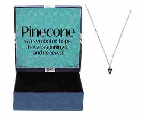 Pinecone Silver-Tone Pendant Necklace with Jewelry Box