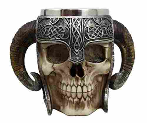 Ebros Viking Warrior Skull Tankard
