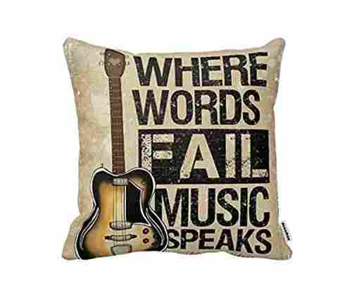Decorbox – 'Where Words Fall Music Speaks' Quote Throw Pillow Case