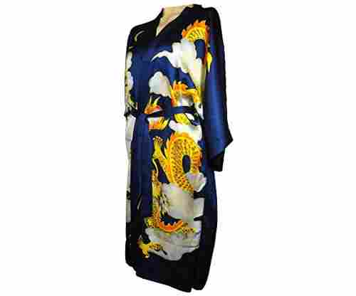 Amazing Grace Elephant Co. Hand-Painted Silk Kimono Dragon Robe