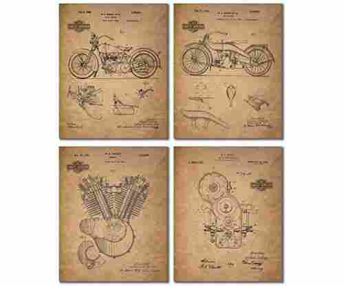 Harley Davidson Patent Wall Art Prints – Set of Four Photos