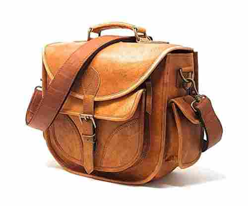 DSLR Leather Camera Bag – Travel Vintage Crossbody Shoulder Bag with Removable Insert