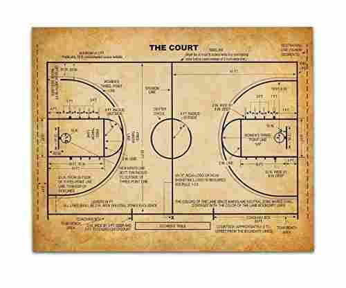 Basketball Court – 11×14 Unframed Patent Print