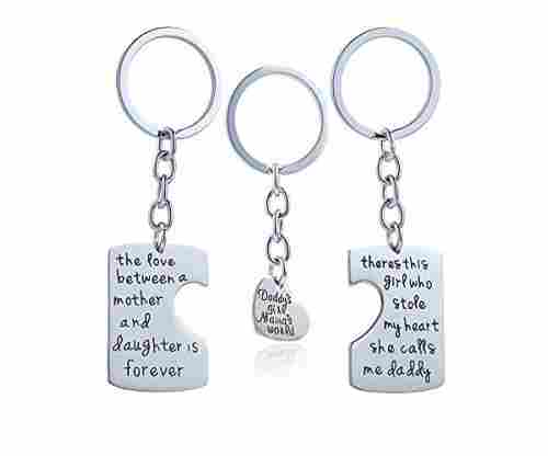 3pcs Father Mother I Love U Charm Pendant Keychain
