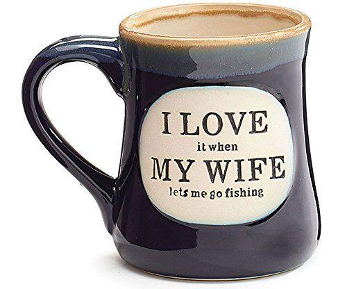 """I Love My Wife"" Porcelain 18 oz Fishing Coffee Mug"