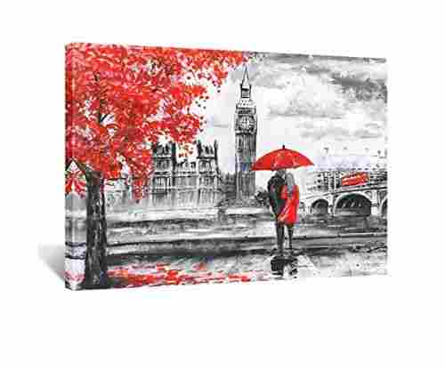 Kreative Arts – Red Umbrella Couple Painting Canvas Art