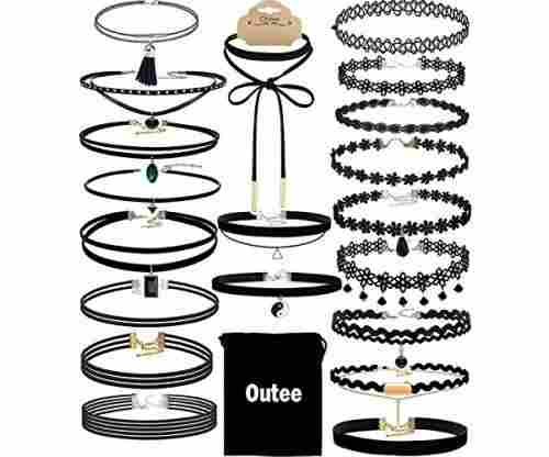 Outee 20 PCS Black Charm Choker Set