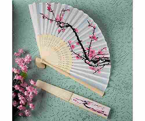 Delicate Cherry Blossom Design Silk Folding Fan
