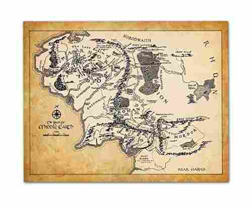 Map of Middle Earth – 11×14 Unframed Art Print