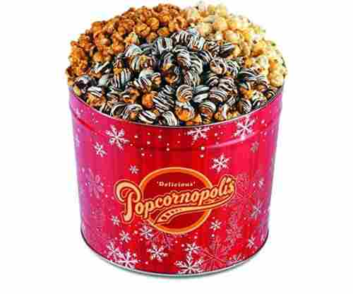 Popcornopolis Gourmet Popcorn – 2 Gallon Red Snowflakes Tin