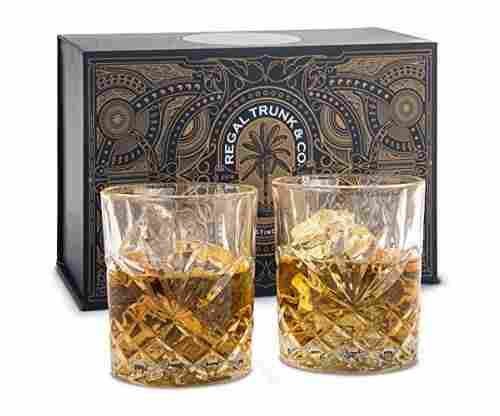 Elegant Whiskey Glass Set of 2 in a Spectacular Gift Box by Regal Trunk & Co.