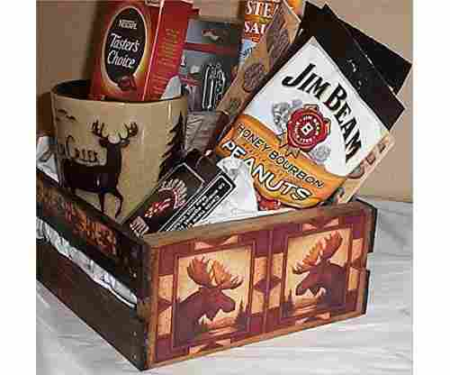 Moose Hunters Wood Crate Mens Gift Basket