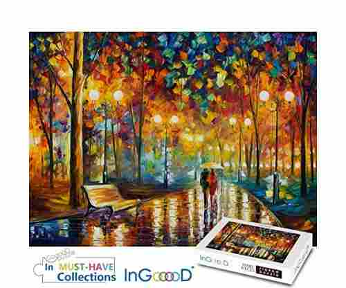 Ingooood Rainy Night Walk Paper Jigsaw Puzzle with 1000 Pieces