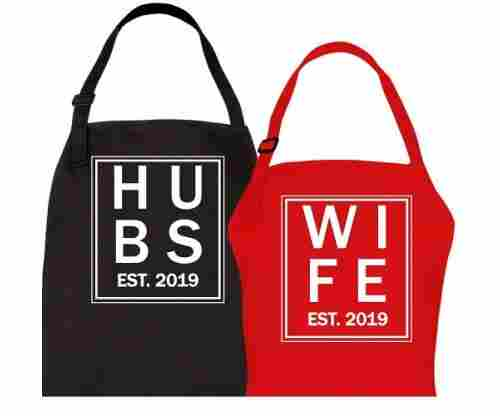 Let the Fun Begin Hubs and Wife Est. 2019 Aprons
