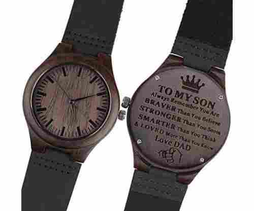 Engraved Wooden Watch with Black Leather Strap