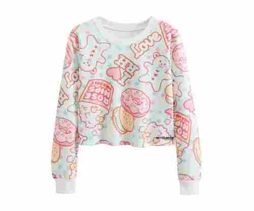Futurino Girl's Doughnut Crop Top Sweatshirt
