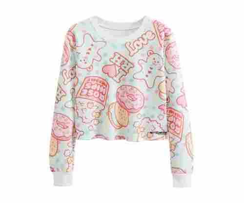 Futurino Girl's Doughnut Crop Top Sweatshirt
