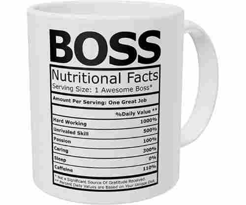Wampumtuk Boss Nutritional Facts Coffee Mug