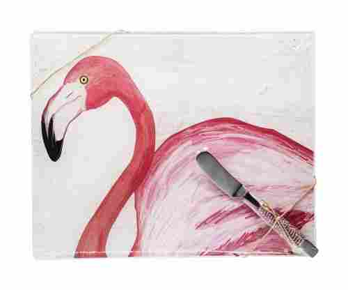 Vibrant Pink Flamingo Cutting Board with Beaded Pink Spreader